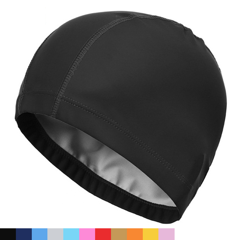2018 Elastic Waterproof PU Fabric Protect Ears Long Hair Sports Swim Pool Hat Swimming Cap Free size for Men & Women Solid Color