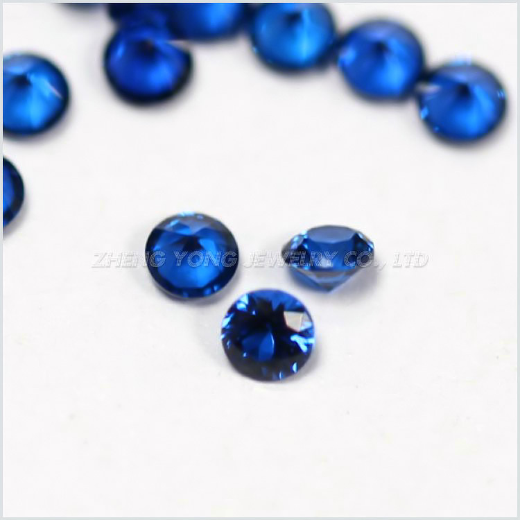 2.0mm Synthetic Blue Stone Round Brilliant Cut #114 Deep Burman Blue Beads For Jewelry Making