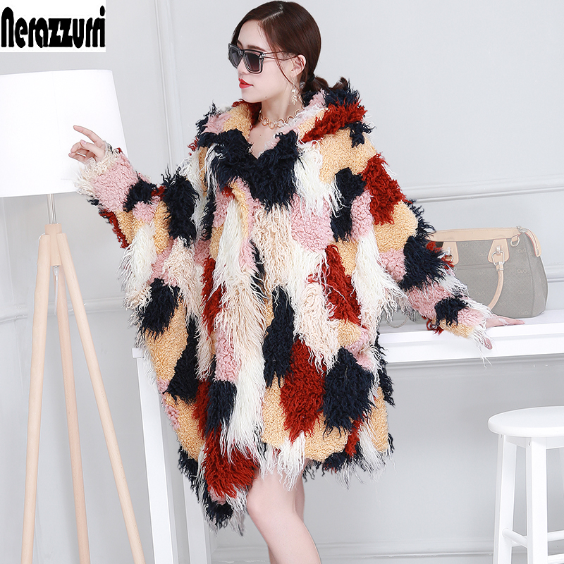Oversized Faux fur Coat With Hood Women Irregular Hem Hooded Colored Fur Poncho Multicolor Long Shaggy