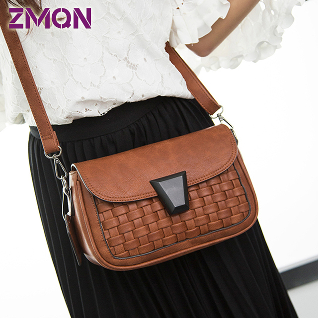 Women Messenger Bag / Retro Vintage Leather Crossbody Bags Lady Handbag & Shoulder For Girls Knit Small Flap Party Bag Women 509