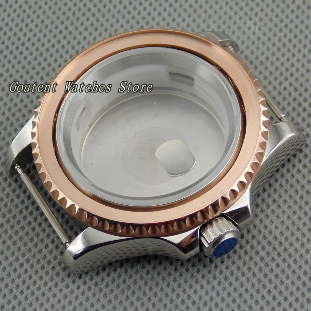 40mm Rose Gold Watch Case Bezelx1 Kit ETA 2836 DG2813 3804 Miyota 82 Series Wristwatch Shell