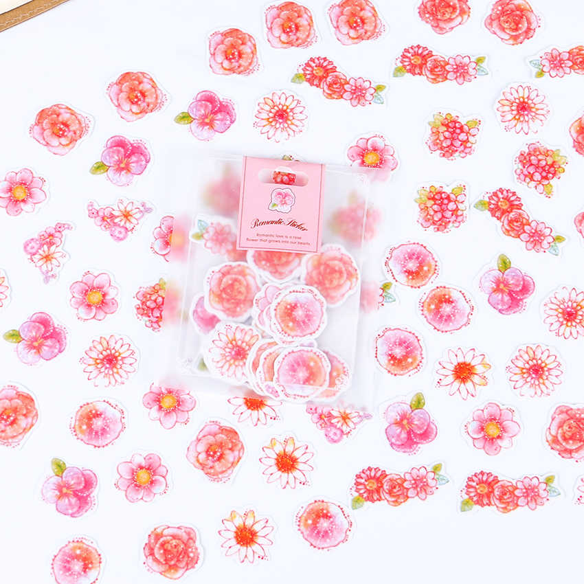 70PCS/Set Fresh Style Watercolor Label Stickers Set Decorative Stationery Stickers Scrapbooking DIY Diary Album Sticker Gift