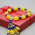 Ethnic style Leisure time Yellow Wax Bracelet hand chain for women girls Beads Pendant Tassels jewelry design Crystal beads