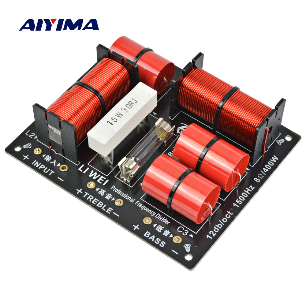 Aiyima 400W 1PC Divider 2 Way Speaker Audio Frequency Divider 400W Professional Treble Bass Crossover Filters For Amplifier DIY 60w 2 way audio speaker frequency divider treble bass tws 2 unit crossover accessory