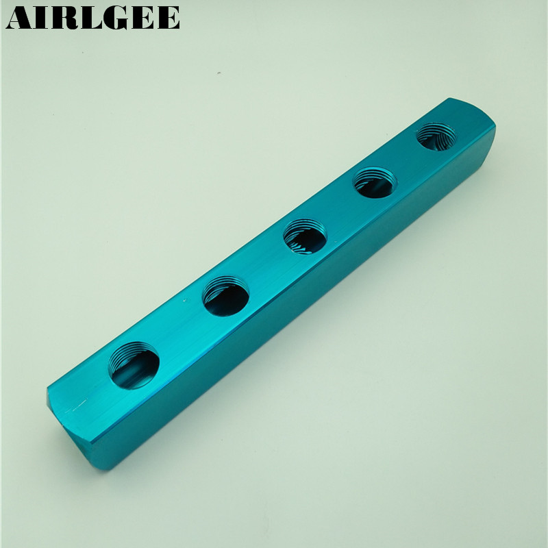 1/2PT Air Pneumatic 5 Positions 8 Thread Ports Aluminum Manifold Block Splitter Free shipping tube size 14mm 1 4 pt thread pneumatic