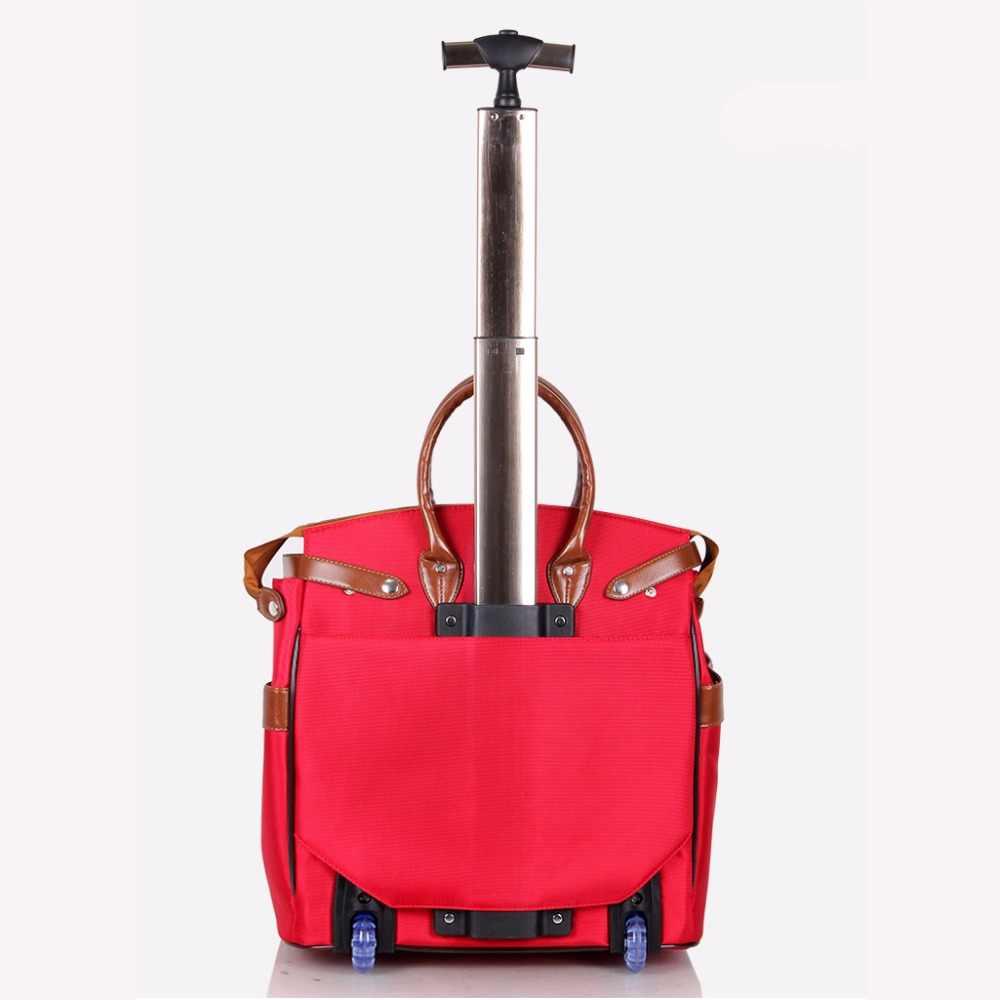Letrend Nieuwe Mode Koreaanse Oxford Mannen Reistas op Wiel Koffers Vrouwen Rode vintage Cabine Rolling Bagage Trolley Handtas
