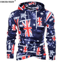 USRUER YEEZY Top Quality Mens Hoodie Sweatshirt American Flag Printing Men Hoody Tracksuit Male Clothing Hip