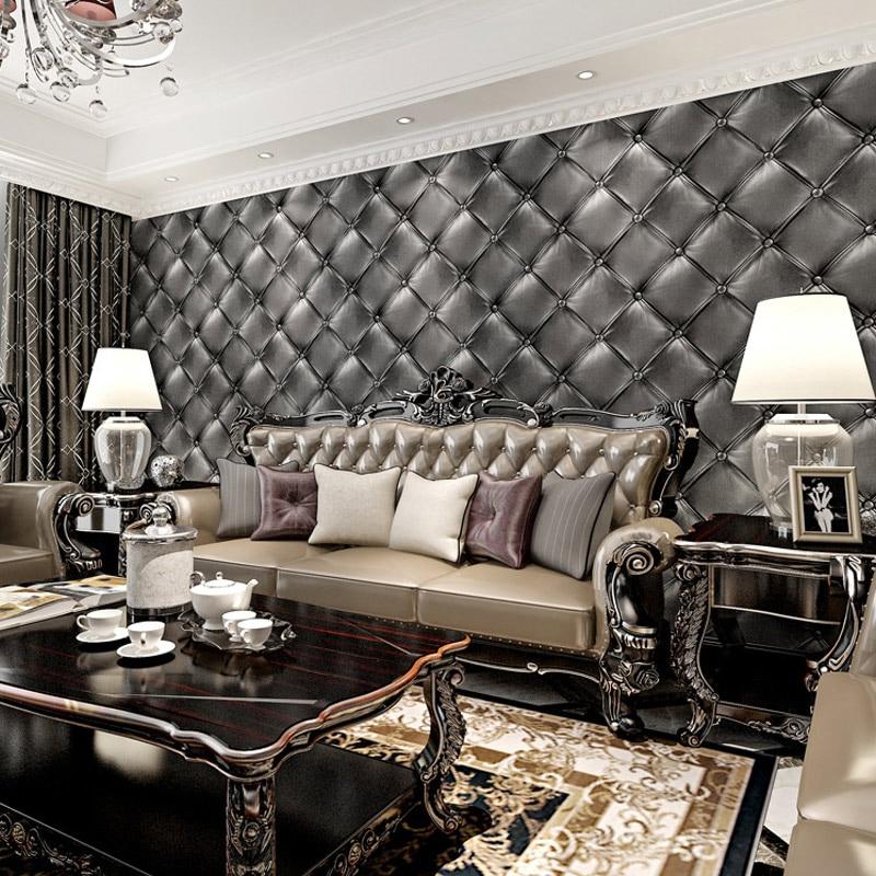 Europäischen Stil 3D Stereoskopischen Weiche Pack Faux Leder Tapete Moderne  Luxus Schlafzimmer Wand Papierrolle Für Wohnzimmer In Europäischen Stil 3D  ...