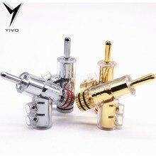 8 pces hi end yivo latão cobre chapeado ouro ou ródio gun tipo áudio adaptador de alto falante de vídeo conector de banana de 6mm