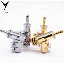 8pcs Hi-end YIVO Brass Copper Plated Gold or Rhodium Gun-type Audio Video Speaker Adapter 6mm banana connector(China)