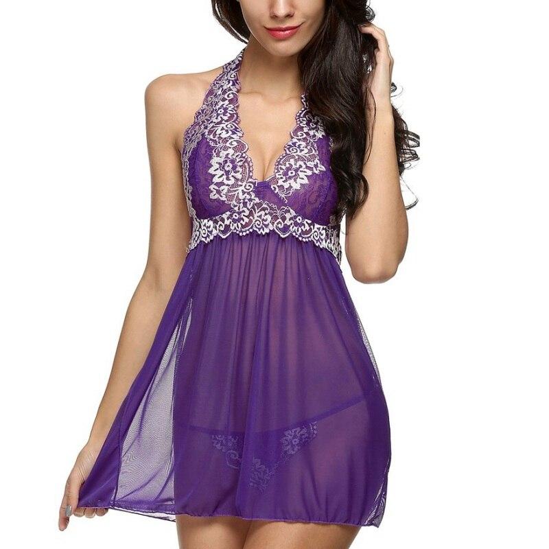 Women Nightwear Summer Women Deep V Lingerie Lace Sleepwear Babydoll Nightgowns Nightwear