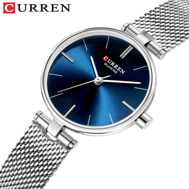 CURREN Simple Analog Quartz Watches for Women Stainless Steel Mesh Wristwatch La