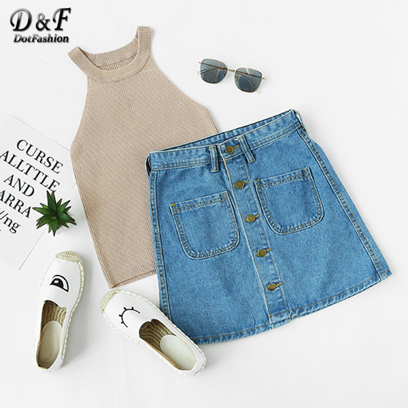 Dotfashion New Style Casual Wear Womens Solid Blue Button Front Dual Pocket A Line Mini Denim Skirt