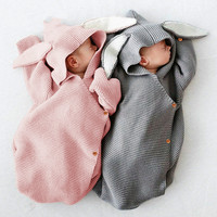 Sleeping Bags Cute Bunny Baby Stroller Bag Spring and Autumn Knit Newborn Infant Wrap Nest Swaddle Envelopes for Child Kid