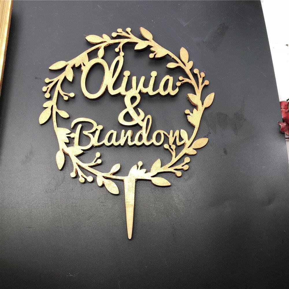 Coroa de Flores de Casamento Festa de Casamento Nome de Madeira Personalizado Bolo Topper Decoração da Personalizado Rústico Bolo Topper