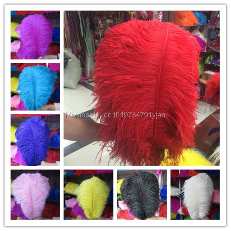 Wholesale quality 100pcs perfect bright color natural ostrich feathers 16-18 inches / 40-45 cm variety of color options. Wedding