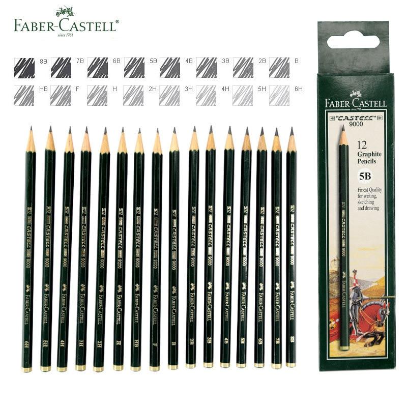 16 piezas Faber Castell arte lápices de grafito 9000 # para escribir sombreado Sketch plomo negro diseño lápiz carbón artistas dibujo conjunto