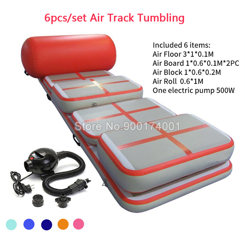 Free Shipping Door To Door A Set (6 Pieces) Inflatable Gym Airtrack Tumbling Yoga Mat Air Trampoline Track For Children