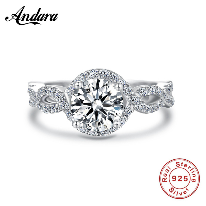 Fashion New Women Round Silver Ring 925 Sterling Best Gift For Women AAA Zircon Engagement Wedding Ring