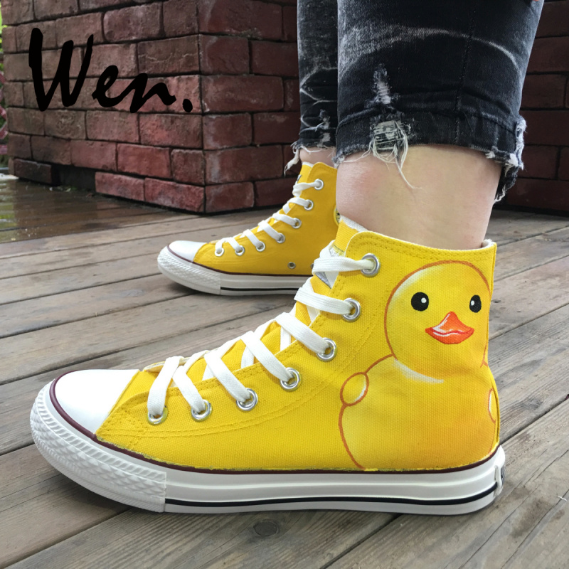 Wen Hand Painted Shoes Design Custom Cartoon Yellow Duck Woman Mans High Top Canvas Sneakers Birthday Gifts for Boys GirlsWen Hand Painted Shoes Design Custom Cartoon Yellow Duck Woman Mans High Top Canvas Sneakers Birthday Gifts for Boys Girls