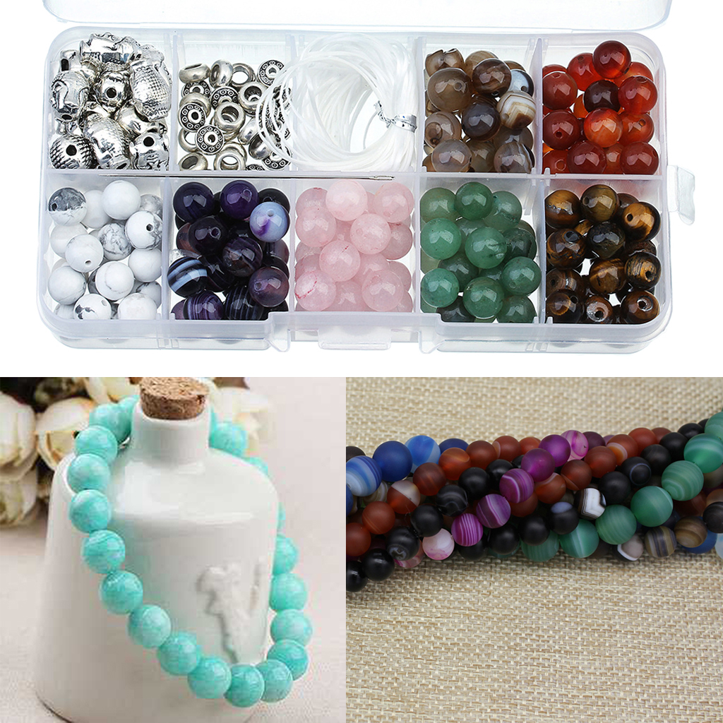 1 Set Natural Stone Loose Round Beads w Buddha Skull Beads Crystal Elastic Cord Kit Beads For Beading Jewelry Bracelet DIY Craft tungsten alloy steel woodworking router bit buddha beads ball knife beads tools fresas para cnc freze ucu wooden beads drill