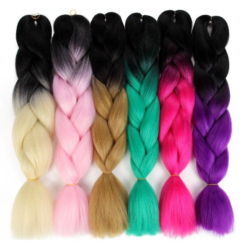 купить✲  Косы для вязания крючком Канекалон Синтетические волосы 24 дюйма Джамбо Плетение волос 100 г