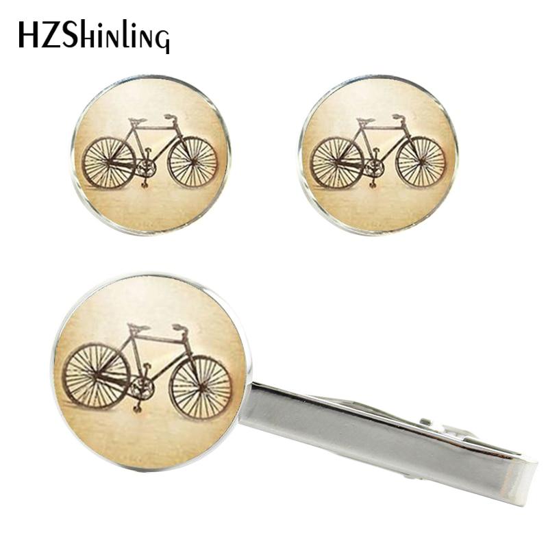2017 Neue Vintage Fahrrad Krawattennadel Antike Bike Manschettenknopf Silber Handgemachte Clips Manschettenknöpfe & Glas Cabochon Manschette Ct-0076