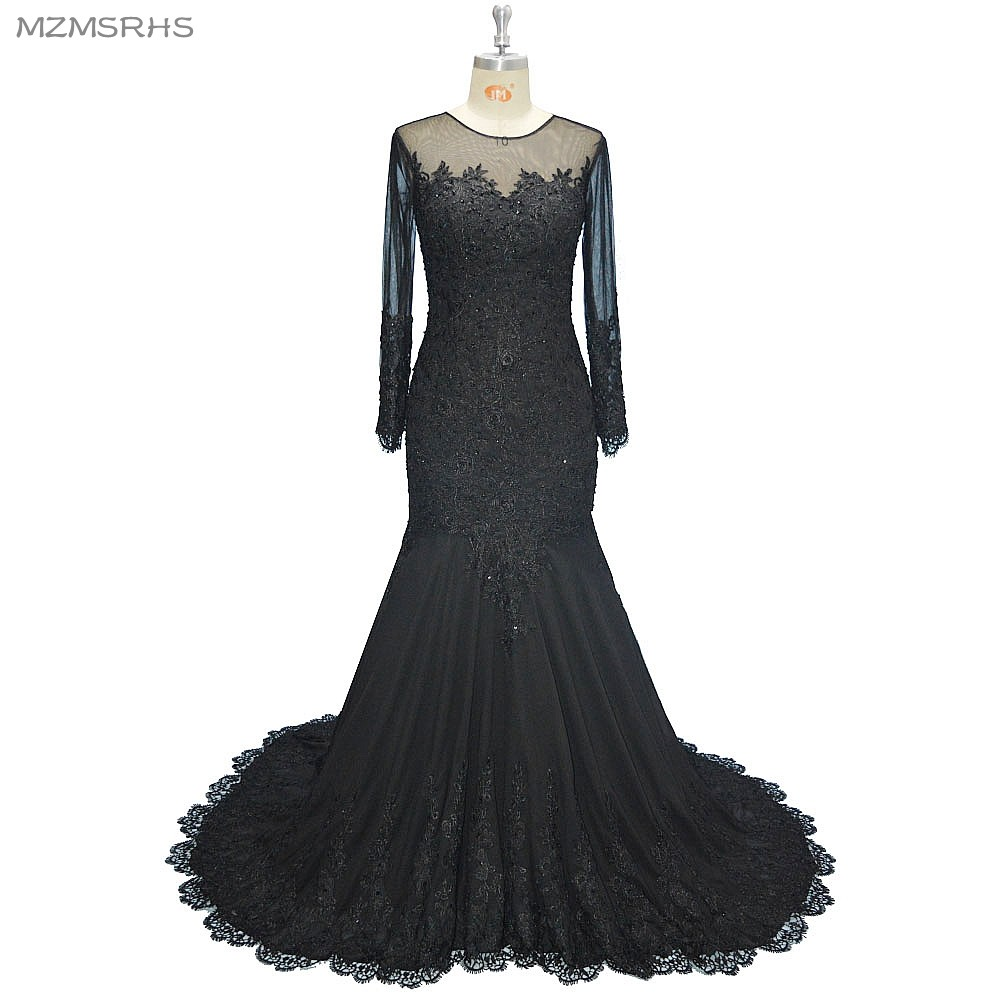 Long Sleeve V-neck Long Evening Dress Mermaid Black Lace Beaded - Special Occasion Dresses