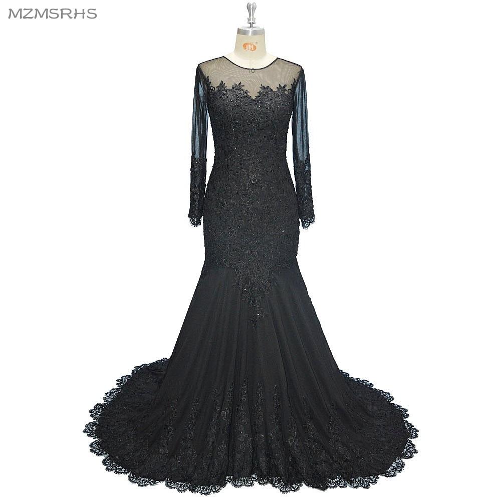 Langarm V-Ausschnitt langes Abendkleid Meerjungfrau schwarzer Spitze - Kleider für besondere Anlässe - Foto 1