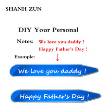 SHANH ZUN Personalized Stainless Steel Collar Stays for Men Custom Hand Stamped Stiffeners 1 Pair in Gift Box