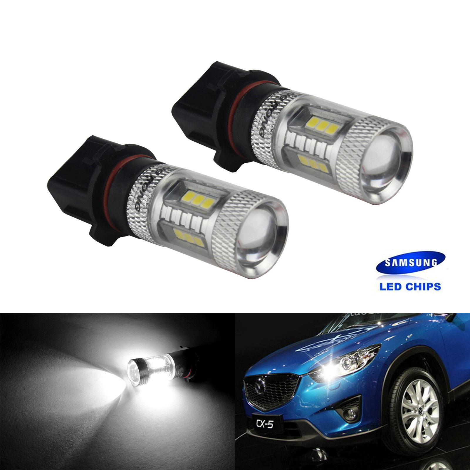 ANGRONG 2pcs P13W PSX26W SAMSUNG 15 SMD LED Fog Daytime Side Light Bulb For Audi A4 B8 2008+