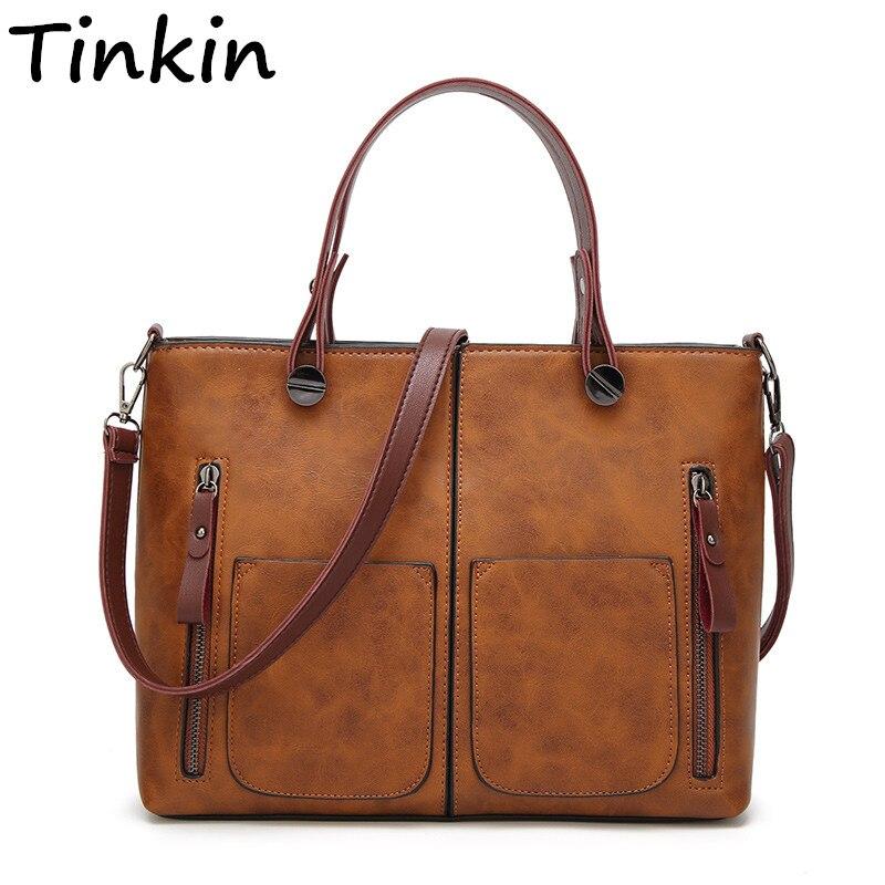 Tinkin Drop Shipping Vintage PU Borsa A Tracolla Causale Femminile Borse per la Spesa Quotidiana per Tutti Gli Usi di Alta Qualità Dames Tassen