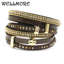 winter leather bracelet 10 color wrap bracelets Bohemian bracelets&bangles for women Christmas gift jewelry wholesale