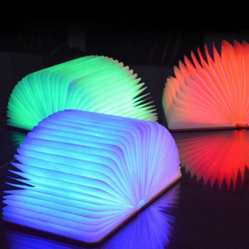 LED veilleuse livre pliant lumière USB Rechargeable en bois aimant couverture lampe de Table bureau plafond décor blanc/blanc chaud coloré