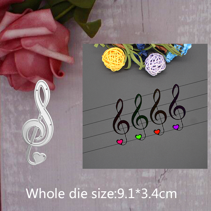 9 1 3 4cm cute musical note 2019 new metal steel cutting dies for DIY Scrapbooking stitch Album Paper Card Craft Embossing dies in Cutting Dies from Home Garden