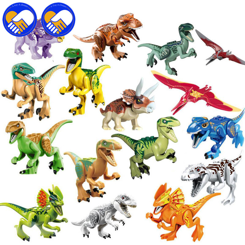 A TOY A DREAM 8pcs/16pcs Compatible Lepingo Jurassical World Toys For Kids Dinosaur Bricks Building Blocks Educational Baby Toys 2 sets jurassic world tyrannosaurus building blocks jurrassic dinosaur figures bricks compatible legoinglys zoo toy for kids