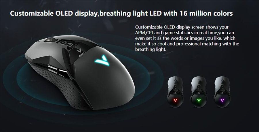 Details about Rapoo® VT950 Gaming Mouse 2 4G Wireless 16000DPI OLED Display  RGB Lighting