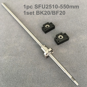 Ball screw SFU / RM 2510-550mm ballscrew with end machined + 2510 Ballnut + BK/BF20 End support for CNC