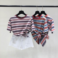 Women Vintage Striped T Shirts Summer Autumn Cotton Loose O Neck Tees Girls Fashion New Contrast