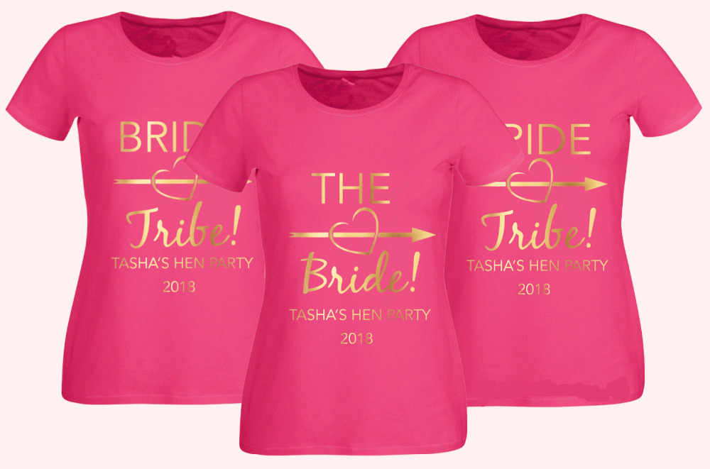 HEN PARTY T-SHIRT BLACK FITTED TOP BRIDE TRIBE OPTION TO PERSONALISE GOLD TEXT