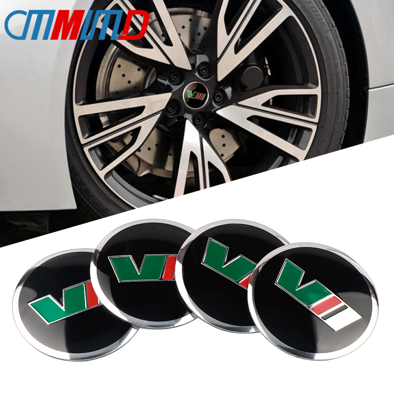 4pcs <font><b>Car</b></font> Styling New 56mm aluminum VII VRS logo <font><b>Car</b></font> <font><b>Wheel</b></font> <font><b>Center</b></font> <font><b>Hub</b></font> <font><b>Cap</b></font> Sticker Emblem Badge Sticker for <font><b>Skoda</b></font> Octavia Fabia Ye image