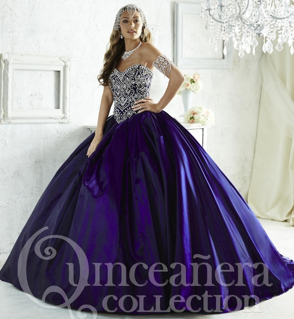Hot Sale 2016 Beautiful Purple Quinceanera Dresses beaded ball gown ...