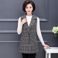 XL 5XL Women Fashion Spring Blazer Plaid 5 Buttons Casual Korean Style Jacket Elegant Office Ladies Business Long Blazer