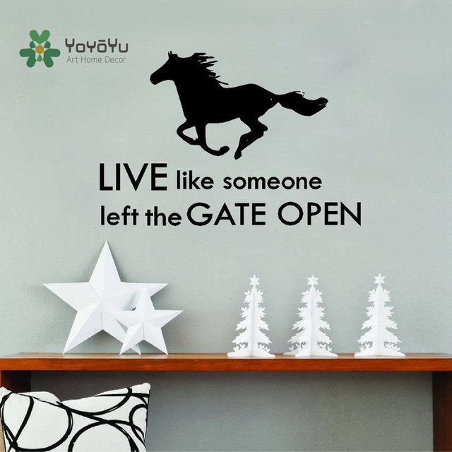 YOYOYU Wall Decal Lovely Horse Cowboy Pegatinas De Pared  Live Like Someone Left The Gate  sc 1 st  AliExpress.com & YOYOYU Wall Decal Lovely Horse Cowboy Pegatinas De Pared