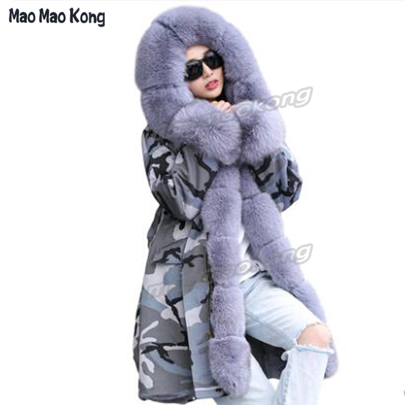 Hot 2018 Fashion Genuine Fur winter Parka 100% Real fur parka Long Coat Female Trend Fox Fur Collar Parka women