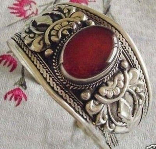 jewerly bangle > Superb Jewelry tibet silver red jade bracelet Bangle nxj