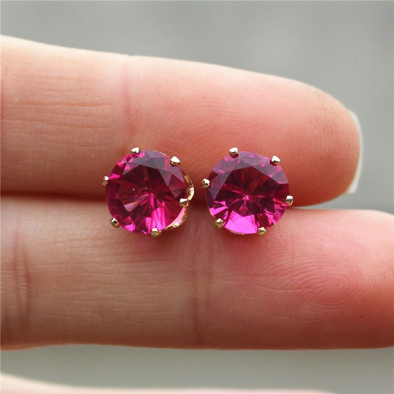 2017 new jewelry 8mm Imitation Zircon stud earrings color Statement earring for Girls gift for woman