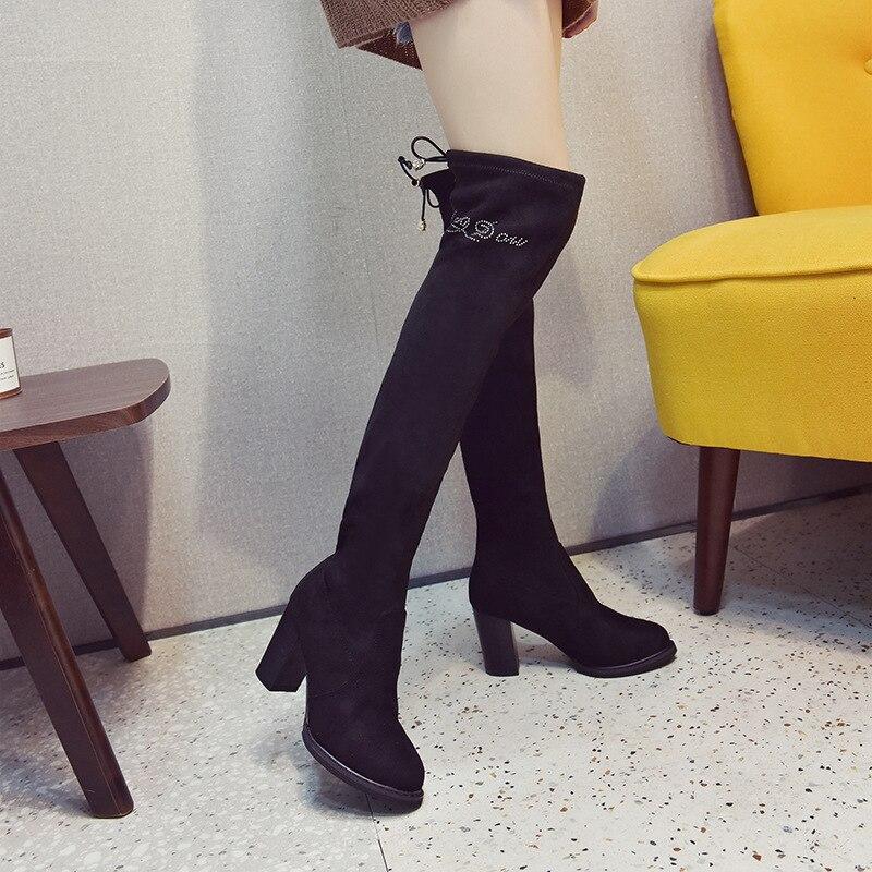 Court Bottes Chaussures Talon Style Femme Mince Lwo Chaussette Botte 2018 Genou Talons Marques 1 Élastique Haute Coréenne Bas Femmes D'hiver gq7dnw4A