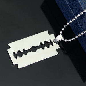 dongsheng Fashion Silver Color Stainless Steel Razor Blades Pendant Necklaces Men Jewelry Steel Male Shaver Shape Necklace -30