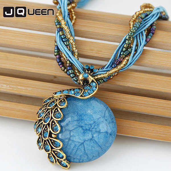 2018 New Chain Ethnic Exaggeration Crystal Necklace Bohemia Peacock Woman Retro Folk Style Sweater Chain Female Necklace